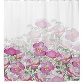 Beach Rose Border Print Pink White Shower Curtain