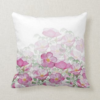 Beach Rose Border Print Reversible Throw Pillow