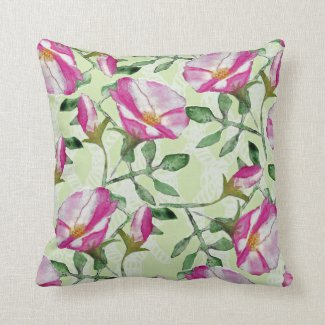 Beach Rose Floral Print Reversible Throw Pillow