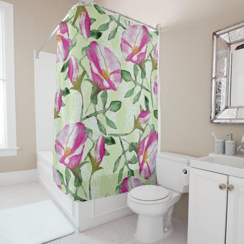 Beach Rose Green floral shower curtain