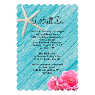 Beach Rose Vow Renewal Ceremony Card