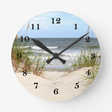 Beach Themed Beach Round Clock