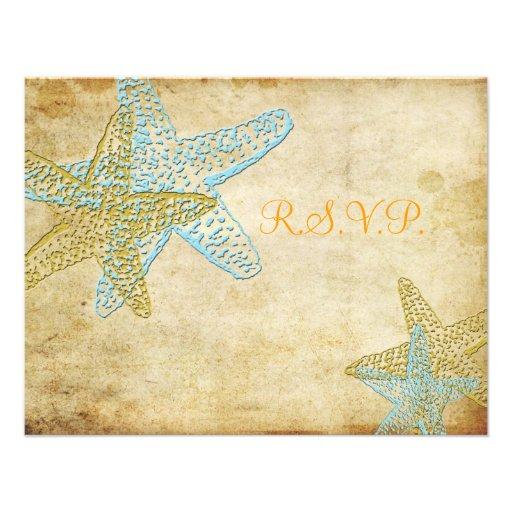 Beach RSVP require 5x7 invites/adjustable starfish