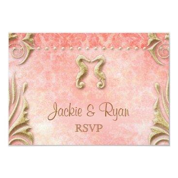 Beach Themed Beach RSVP Wedding Reply Card Seahorse Coral Gold