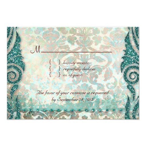 Beach RSVP Wedding Reply Card Seahorse Personalized Announcement