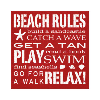 Beach Rules By the Seashore Bold Red & White Stretched Canvas Prints
