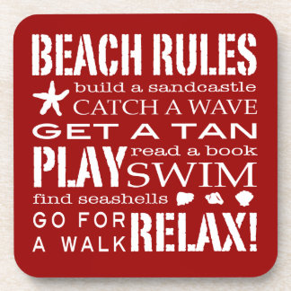 Beach Rules By the Seashore Bold Red & White Drink Coaster