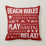 Beach Rules By the Seashore Bold Red & White Pillow