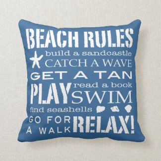 Beach Rules By the Seashore Classic Blue & White Pillow