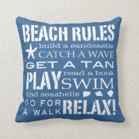 Beach Rules By the Seashore Classic Blue & White Throw Pillow