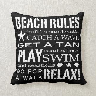 Beach Rules By the Seashore Crisp Black White Gray Pillow