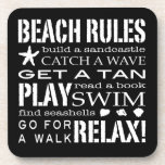 Beach Rules By the Seashore Graphic Black & White Beverage Coasters