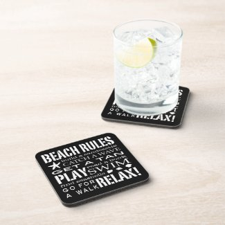 Beach Rules By the Seashore Graphic Black & White Coaster