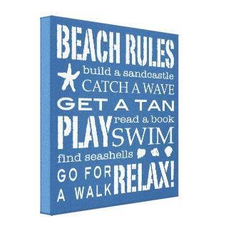 Beach Rules By the Seashore Nautical Blue & White Canvas Print