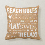 Beach Rules By the Seashore Sandy Beige & Brown Pillow