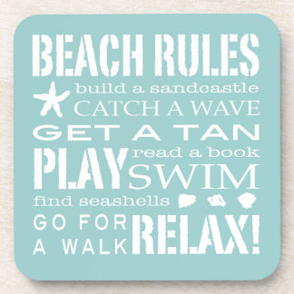 Beach Rules By the Seashore Soft Aqua & White Beverage Coaster