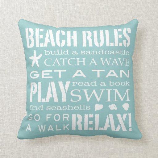 Beach Rules By the Seashore Soft Aqua & White Throw Pillows Zazzle
