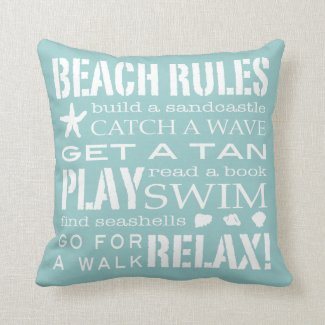 Beach Rules By the Seashore Soft Aqua & White