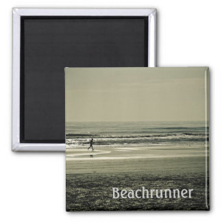 Beach Runner 2 Inch Square Magnet