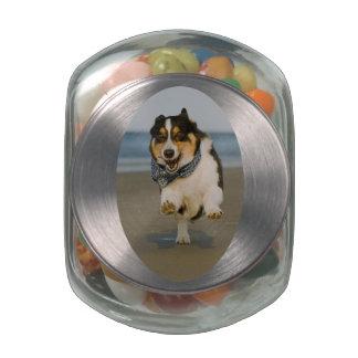 Beach Runner Glass Candy Jar