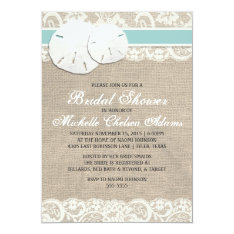 Beach Rustic Burlap Lace Bridal Shower Invitation at Zazzle