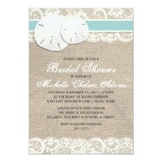 Beach Rustic Burlap Lace Bridal Shower Invitation at Zazzle