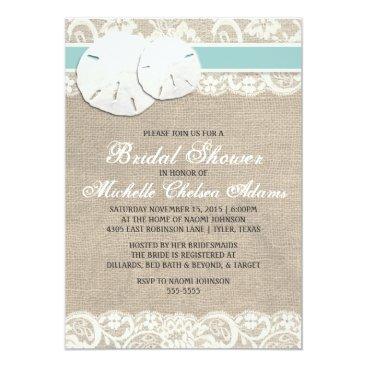 ModernMatrimony Beach Rustic Burlap Lace Bridal Shower Invitation