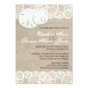 Beach Rustic Burlap Lace Wedding Invitation 5