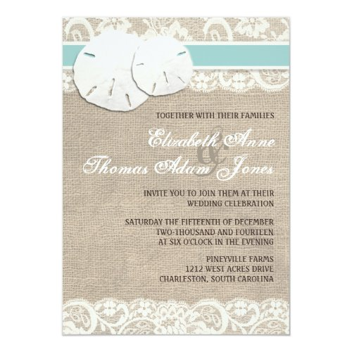 Perfect Invitation For Rustic Beach Wedding Sand Dollar Burlap Lace