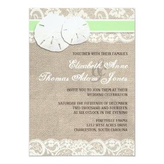 Beach Rustic Burlap Lace Wedding Invitation Green