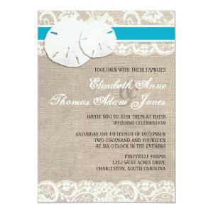 Beach Rustic Burlap Lace Wedding Invitation Malibu