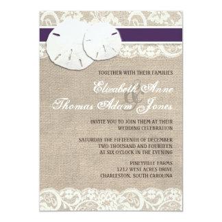Beach Rustic Burlap Lace Wedding Invitation Plum