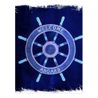beach  rustic chic navigation wheel nautical post card