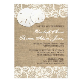 Beach Rustic Warm Burlap Lace Wedding Invitation