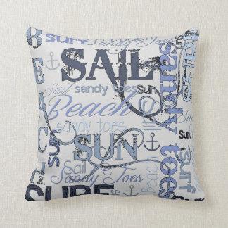 Beach Sail Sun Surf Throw Pillow