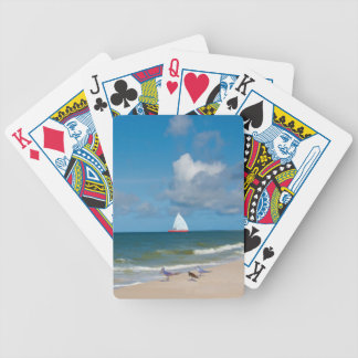 Beach, Sailboat, Birds, Ocean Playing Cards