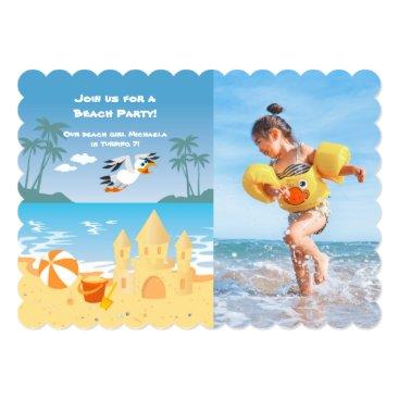 Beach Themed Beach Sand Castle birthday party photo invitation