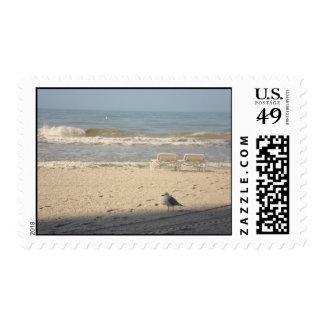 Beach Sand Chairs Seagull Ocean Art Postage