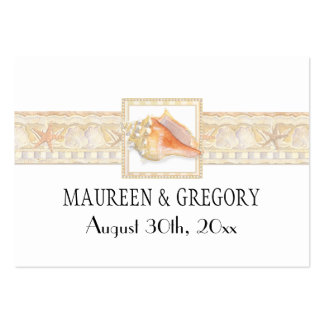 Beach Sand Damask Conch Shell Elegant Favor Tags Large Business Card