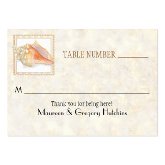 Beach Sand Damask Conch Shell Elegant Place Cards Large Business Card