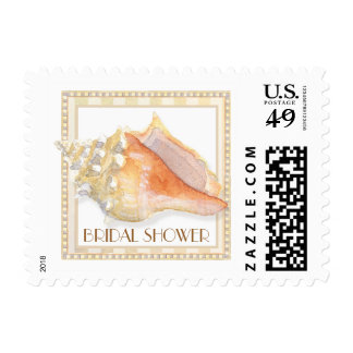Beach Sand Damask Conch Shell Elegant Thank You Stamps