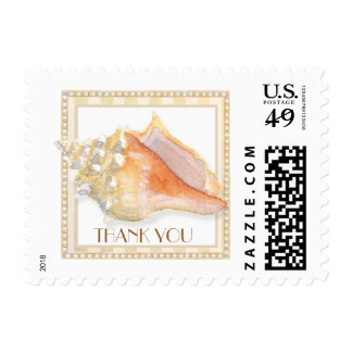 Beach Sand Damask Conch Shell Elegant Thank You Postage Stamps
