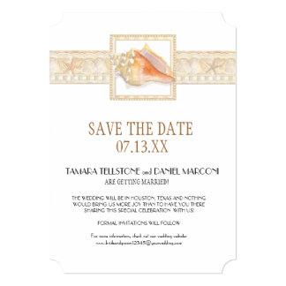 Beach Sand Damask Conch Shell Elegant Weddings Art Card