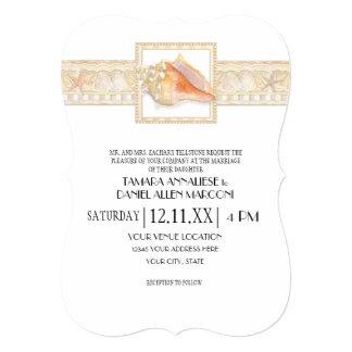 Beach Sand Damask Conch Shell Elegant Weddings Card