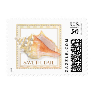 Beach Sand Damask Conch Shell Save the Date Postage