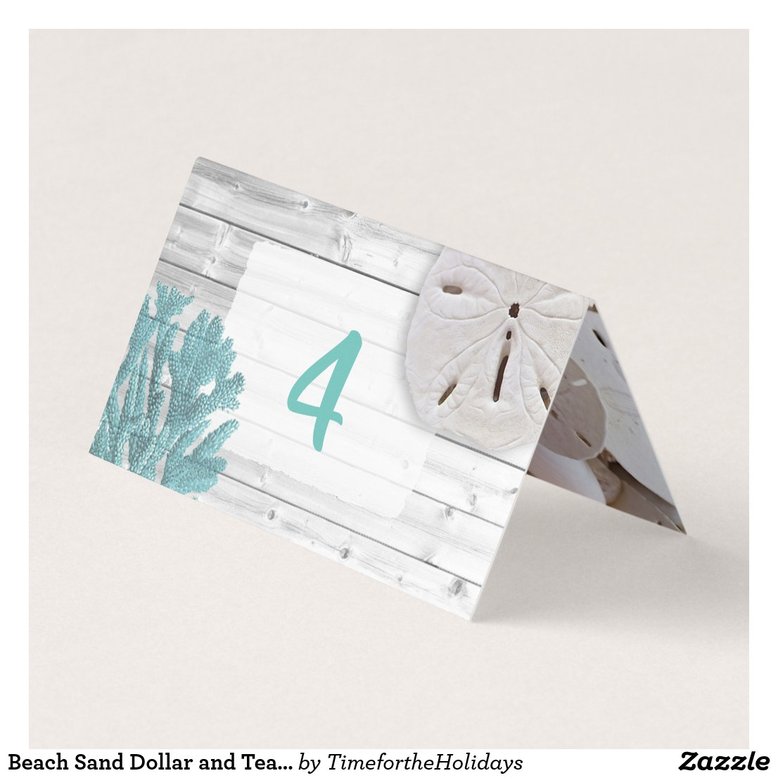 Beach Sand Dollar and Teal Coral Table Number Card