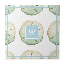 Beach Sand Dollar Custom Monogram Initial Ceramic Tile