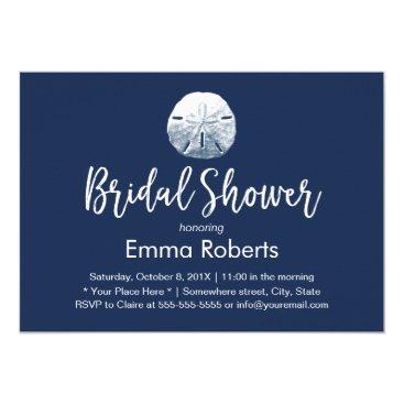 Beach Themed Beach Sand Dollar Navy Blue Bridal Shower Card