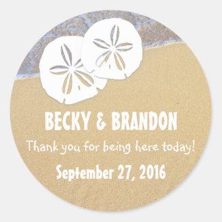 Beach Sand Dollars Wedding Favor Labels Classic Round Sticker