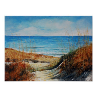 Beach Sand Dunes and Ocean Painting | Poster